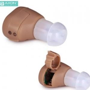 AXON hallókészülék (mini, vezeték néllküli, hangerőszabályzó, BTE In The Air design, hallást javító, 2db AG3 elem) BÉZS