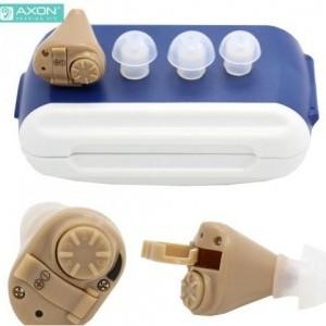 AXON hallókészülék (mini, vezeték néllküli, hangerőszabályzó, ITE In The Air design, hallást javító, 2db AG3 elem) BÉZS