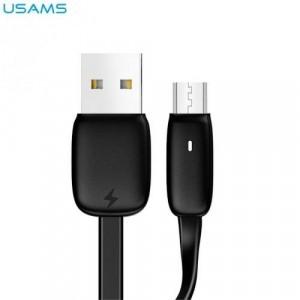 USAMS U6 adatátvitel adatkábel és töltő (microUSB, 1,2 m, LED jelző, gyorstöltés támogatás, lapos kábel) FEKETE