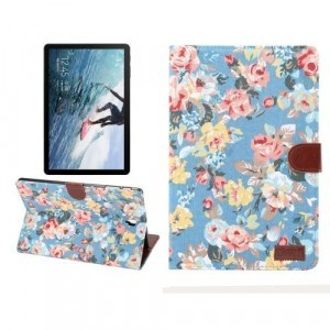 SAMSUNG Galaxy Tab S4 10.5 LTE (SM-T835) /SAMSUNG Galaxy Tab S4 10.5 WIFI (SM-T830) Tok álló, bőr (FLIP, oldalra nyíló, asztali tartó funkció, textil bevonat, virágminta) VILÁGOSKÉK