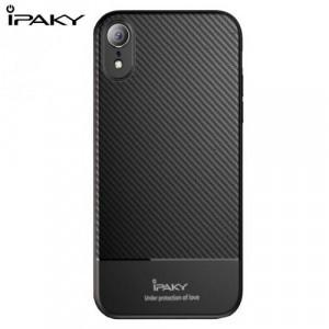 APPLE IPhone XR 6.1 IPAKY telefonvédő gumi / szilikon (ultravékony, karbonminta) FEKETE
