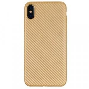 APPLE IPhone XS Max 6.5 Telefonvédő gumi / szilikon (karbon minta) ARANY