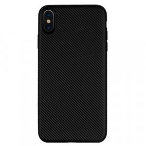 APPLE IPhone XS Max 6.5 Telefonvédő gumi / szilikon (karbon minta) FEKETE