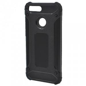 HUAWEI Honor 9 Lite Defender műanyag telefonvédő (közepesen ütésálló, gumi / szilikon belső, fémhatás) FEKETE