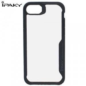 APPLE IPhone 6 / iPhone 6S/ iPhone 7/ iPhone 8 IPAKY műanyag telefonvédő (szilikon keret, közepesen ütésálló, átlátszó hátlap) FEKETE