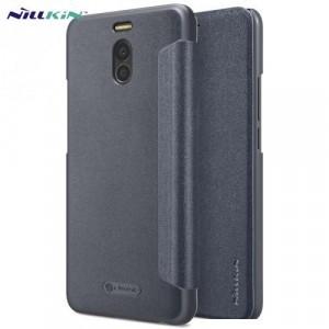 MEIZU M6 Note NILLKIN SPARKLE műanyag telefonvédő (mikroszálas bőr aktív flip, oldalra nyíló) FEKETE