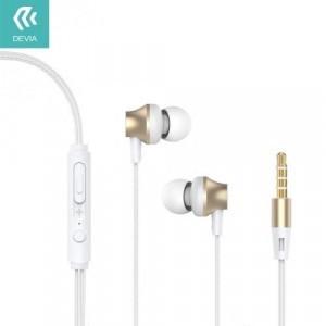 DEVIA Metal fülhallgató SZTEREO (3.5 mm jack, mikrofon, felvevő gomb, hangerőszabályzó) ARANY