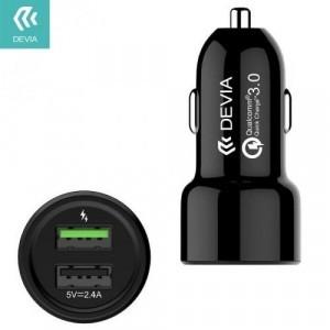 DEVIA szivargyújtó töltő / autós töltő 2 x USB aljzat (5V / 2400mA, gyorstöltés támogatás, kábel nélkül) FEKETE