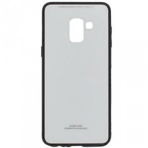SAMSUNG Galaxy A8 (2018) SM-A530F Műanyag telefonvédő (közepesen ütésálló, üveg hátlap) FEHÉR