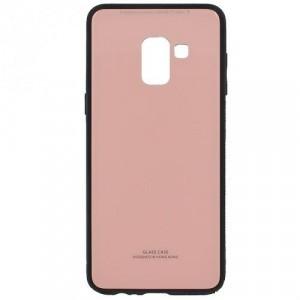 SAMSUNG Galaxy A8 (2018) SM-A530F Műanyag telefonvédő (közepesen ütésálló, üveg hátlap) RÓZSASZÍN