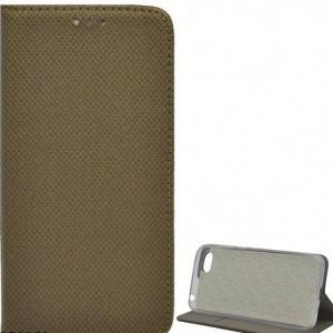 APPLE IPhone X 5.8 /APPLE IPhone XS 5.8 Tok álló, bőr (FLIP, oldalra nyíló, asztali tartó funkció, rombuszminta) ARANYBARNA