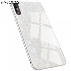 APPLE IPhone X 5.8 /APPLE IPhone XS 5.8 PRODA BAYNO telefonvédő szilikon keret (BUMPER, edzett üveg hátlap, márványminta) FEHÉR
