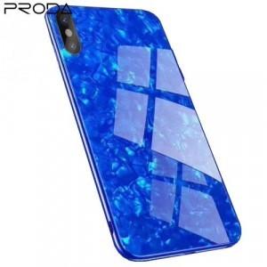 APPLE IPhone X 5.8 /APPLE IPhone XS 5.8 PRODA BAYNO telefonvédő szilikon keret (BUMPER, edzett üveg hátlap, márványminta) KÉK