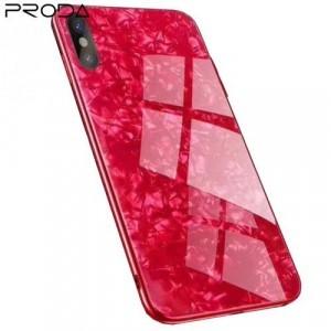 APPLE IPhone X 5.8 /APPLE IPhone XS 5.8 PRODA BAYNO telefonvédő szilikon keret (BUMPER, edzett üveg hátlap, márványminta) PIROS