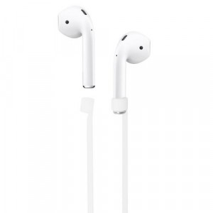 Szilikon tartó (nyakba akasztható, elvesztés gátló, Apple AirPods kompatibilis) FEHÉR