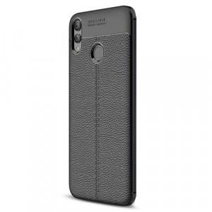 HUAWEI Honor 8X Telefonvédő gumi / szilikon (közepesen ütésálló, bőrhatás, varrás minta) FEKETE