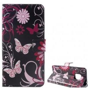 HUAWEI Mate 20 Pro Tok álló, bőr (FLIP, oldalra nyíló, asztali tartó funkció, pillangó, virágminta) FEKETE