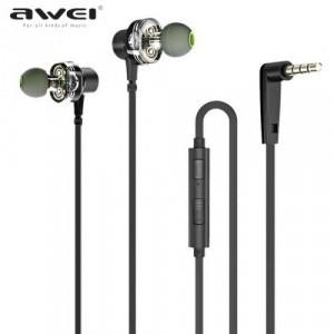AWEI Z1 fülhallgató SZTEREO (3.5mm jack, mikrofon, hangerő szabályzó, lapos kábel, mágneses, mélyhang kiemelő) FEKETE