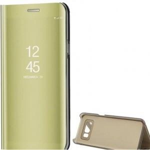 SAMSUNG Galaxy A5 (2017) (SM-A520F) Tok álló (FLIP, oldalra nyíló, asztali tartó funkció, tükrös felület, Mirror View Cover) ARANY