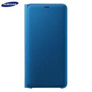 SAMSUNG Galaxy A7 (2018) SM-A750F Műanyag telefonvédő (aktív flip, oldalra nyíló, bankkártya tartó, textil minta) KÉK