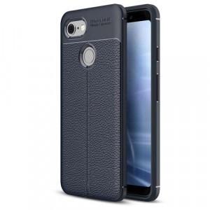 GOOGLE Pixel 3 Telefonvédő gumi / szilikon (közepesen ütésálló, bőrhatás, varrás minta) SÖTÉTKÉK