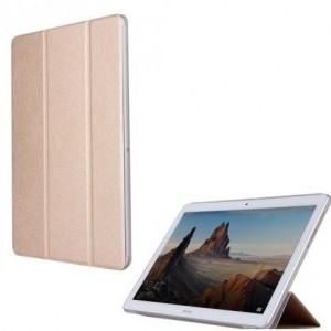 HUAWEI MediaPad T3 10 LTE /HUAWEI MediaPad T3 10 WIFI Műanyag telefonvédő (bőr flip, oldalra nyíló, TRIFOLD asztali tartó funkció) ARANY