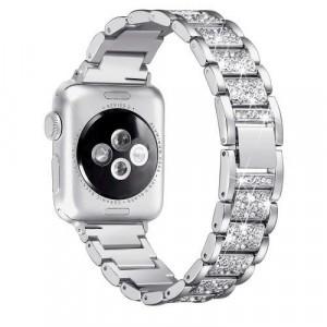Pótszíj (rozsdamentes acél, speciális pillangó csat, strasszkő) EZÜST Apple Watch Series 1 / 2 / 3 / 4 38mm / 40mm
