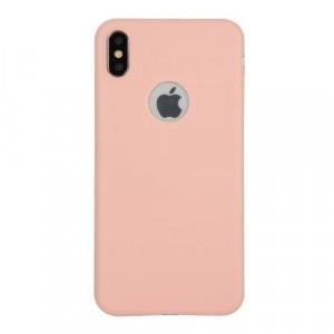 APPLE IPhone X 5.8 /APPLE IPhone XS 5.8 Telefonvédő gumi / szilikon (matt, logo kivágás) RÓZSASZÍN