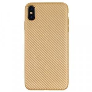 APPLE IPhone XR 6.1 Telefonvédő gumi / szilikon (karbon minta) ARANY