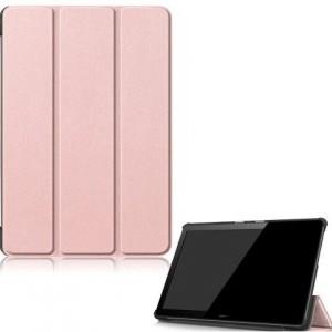 HUAWEI Mediapad T5 10 LTE /HUAWEI Mediapad T5 10 WIFI Tok álló, bőr hatású (FLIP, oldalra nyíló, TRIFOLD asztali tartó funkció) ROZÉARANY