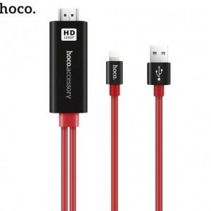 HOCO UA4 TV / HDMI adapter kábel, (lightning 8 pin, USB) FEKETE / PIROS