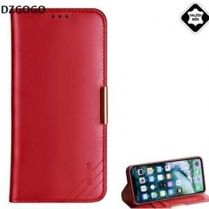 APPLE IPhone XS Max 6.5 DZGOGO ROYALE II tok álló, valódi bőr (aktív flip, oldalra nyíló, bankkártya tartó) PIROS