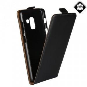 SAMSUNG Galaxy A8 (2018) SM-A530F Tok álló, valódi bőr (FLIP, lefelé nyíló) FEKETE