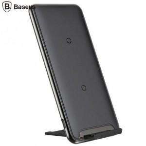 BASEUS asztali töltő állvány (vezeték nélküli töltés, QI Wireless, 10W, három tekercses, gyorstöltés támogatás) FEKETE