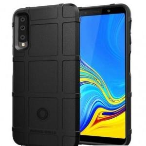 SAMSUNG Galaxy A7 (2018) SM-A750F Telefonvédő gumi / szilikon (közepesen ütésálló, négyzet minta) FEKETE
