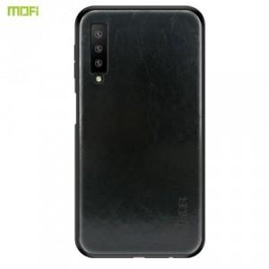 SAMSUNG Galaxy A7 (2018) SM-A750F MOFI műanyag telefonvédő (szilikon keret, bőr hátlap) FEKETE