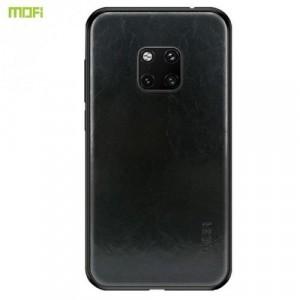 HUAWEI Mate 20 Pro MOFI műanyag telefonvédő (szilikon keret, bőr hátlap) FEKETE
