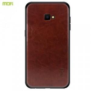 SAMSUNG Galaxy J4 Plus (J415F) MOFI műanyag telefonvédő (szilikon keret, bőr hátlap) SÖTÉTBARNA