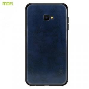 SAMSUNG Galaxy J4 Plus (J415F) MOFI műanyag telefonvédő (szilikon keret, bőr hátlap) SÖTÉTKÉK