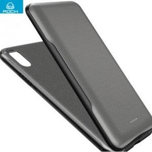 APPLE IPhone XR 6.1 ROCK műanyag telefonvédő (szilikon tok belső,vezeték nélküli vésztöltő, 5000 mAh, mágneses, LED kijelző) FEKETE