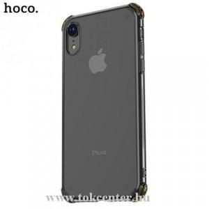 APPLE IPhone XR 6.1 HOCO ICE SHIELD telefonvédő gumi / szilikon (közepesen ütésálló, légpárnás sarok, átlátszó hátlap) FEKETE