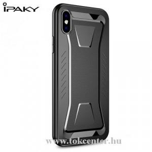 APPLE IPhone XR 6.1 IPAKY PHANTOM telefonvédő gumi / szilikon (közepesen ütésálló, rombuszminta) FEKETE