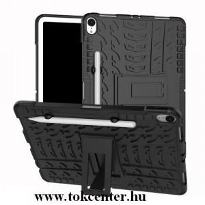 APPLE IPAD Pro 11 (2018) Defender műanyag telefonvédő (közepesen ütésálló, gumi / szilikon belső, kitámasztó, autógumi minta, tolltartó) FEKETE