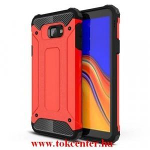 SAMSUNG Galaxy J4 Plus (J415F) Defender műanyag telefonvédő (közepesen ütésálló, légpárnás sarok, gumi / szilikon belső, fémhatás) PIROS