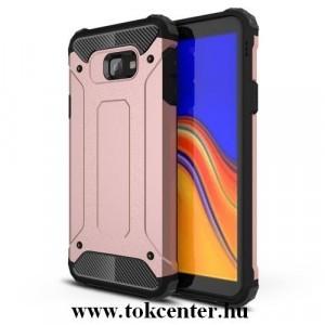 SAMSUNG Galaxy J4 Plus (J415F) Defender műanyag telefonvédő (közepesen ütésálló, légpárnás sarok, gumi / szilikon belső, fémhatás) ROZÉARANY