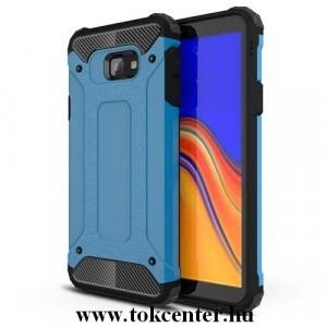 SAMSUNG Galaxy J4 Plus (J415F) Defender műanyag telefonvédő (közepesen ütésálló, légpárnás sarok, gumi / szilikon belső, fémhatás) VILÁGOSKÉK
