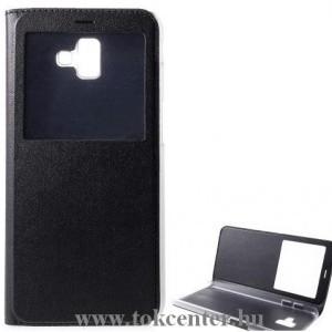 SAMSUNG Galaxy J6 Plus (J610F) Tok álló, bőr (FLIP, oldalra nyíló, asztali tartó funkció, S-View Cover) FEKETE