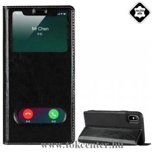 APPLE IPhone 7 Plus 5.5 /APPLE IPhone 8 Plus 5.5 Tok álló, valódi bőr (FLIP, oldalra nyíló, asztali tartó funkció, Dual View Window) FEKETE