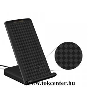 Asztali töltő (vezeték nélküli töltés, QI Wireless, USB, microUSB, Type-C, lightning 8 pin, beépített ventilátor) FEKETE