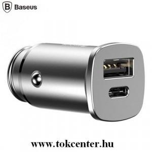 BASEUS szivargyújtó töltő / autós töltő 2 x aljzat (4.5V / 5000mA, 5V/3000mA, Type-C, gyorstöltés, kábel nélkül) EZÜST